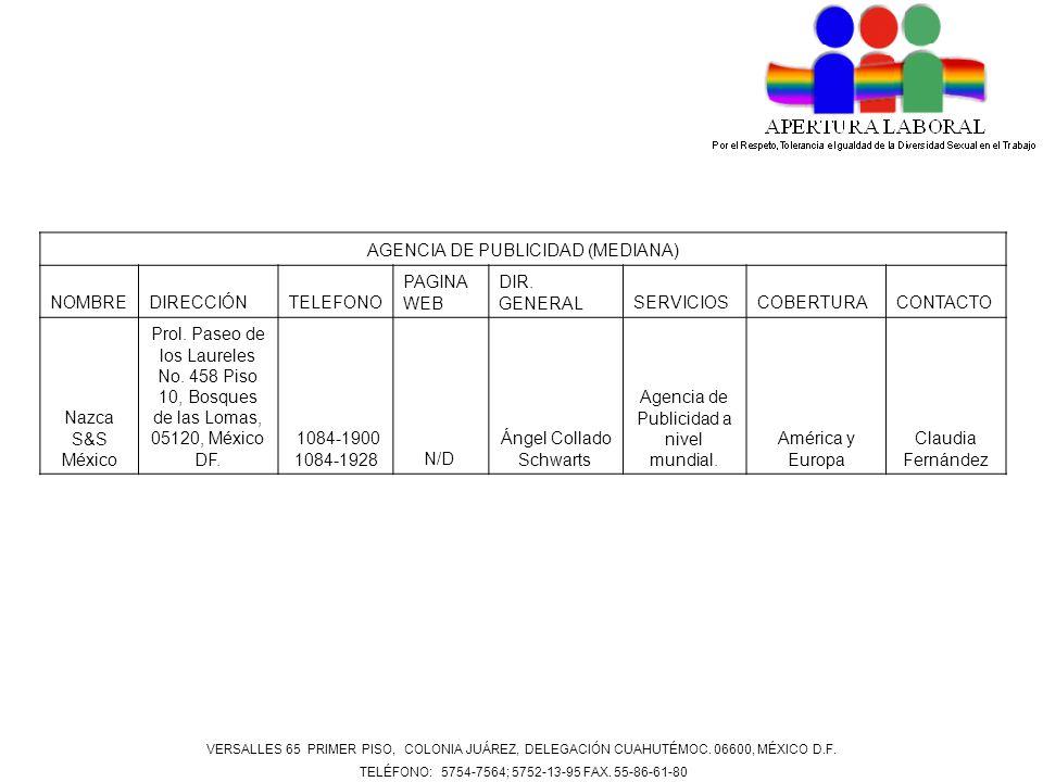 AGENCIA DE PUBLICIDAD (GRANDE) NOMBREDIRECCIÓNTELEFONO PAGINA WEB DIR.