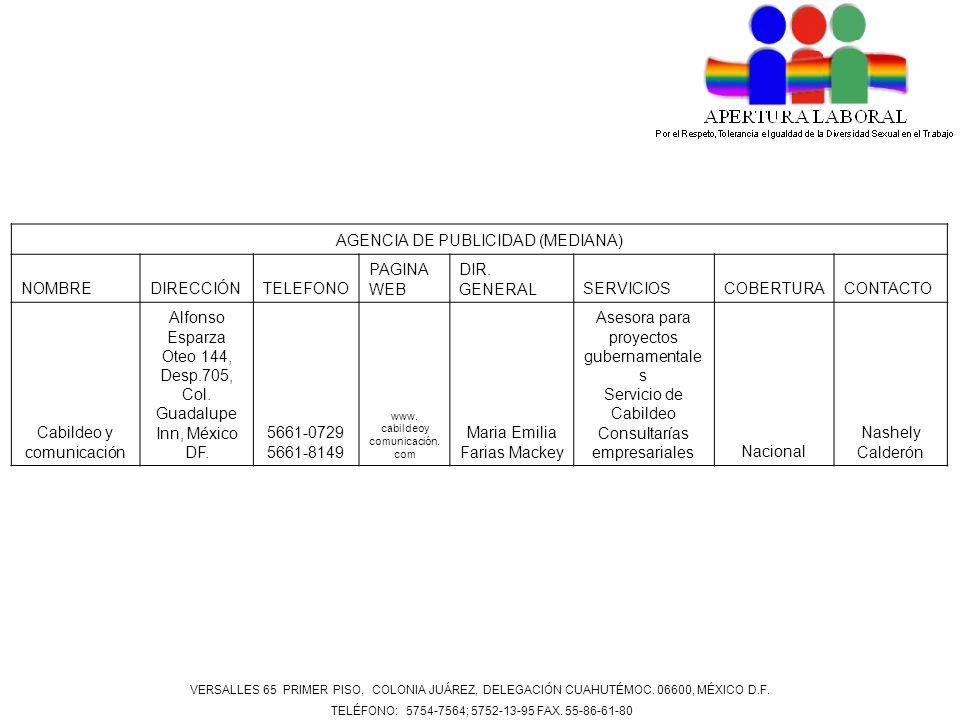 AGENCIA DE PUBLICIDAD (MEDIANA) NOMBREDIRECCIÓNTELEFONO PAGINA WEB DIR. GENERALSERVICIOSCOBERTURACONTACTO Cabildeo y comunicación Alfonso Esparza Oteo