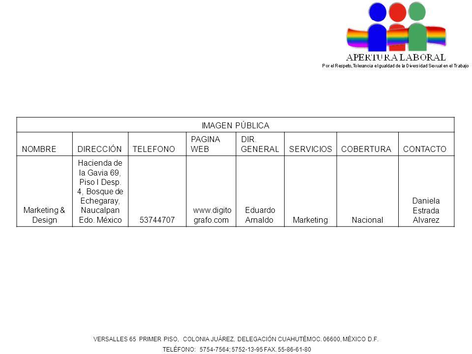 IMAGEN PÚBLICA NOMBREDIRECCIÓNTELEFONO PAGINA WEB DIR. GENERALSERVICIOSCOBERTURACONTACTO Marketing & Design Hacienda de la Gavia 69, Piso I Desp. 4, B