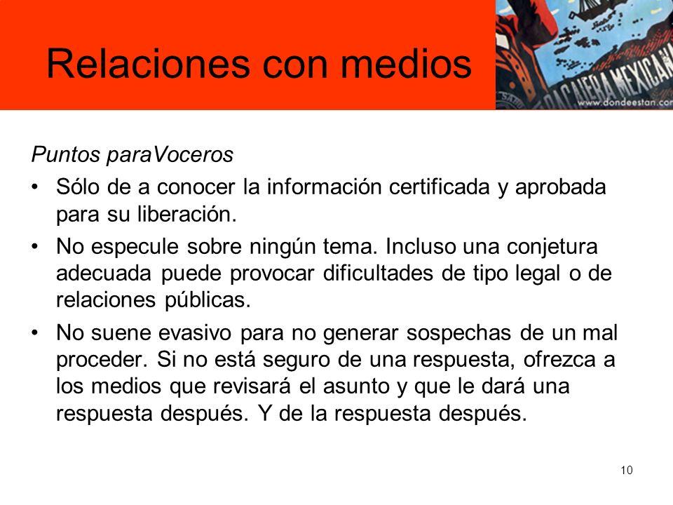 10 Puntos paraVoceros Sólo de a conocer la información certificada y aprobada para su liberación.