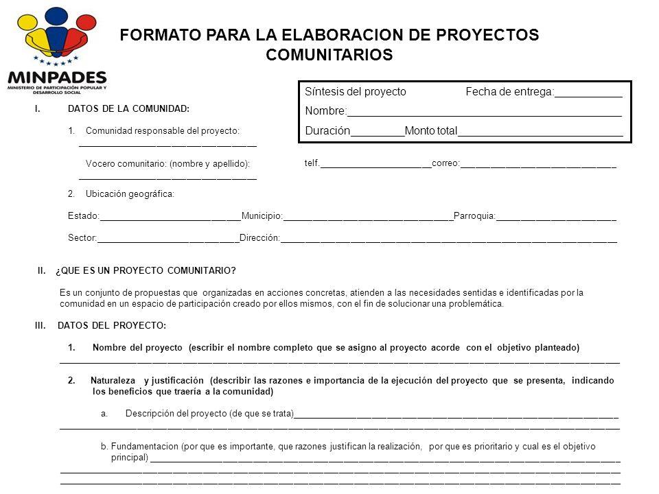 I.DATOS DE LA COMUNIDAD: 1.