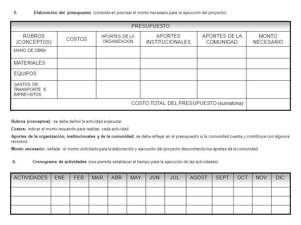 6.Cronograma de actividades (nos permite establecer el tiempo para la ejecución de las actividades) ACTIVIDADESENE.FEB.MAR.ABR.MAY.JUN.JUL.AGOST.SEPT.OCT.NOV.DIC.