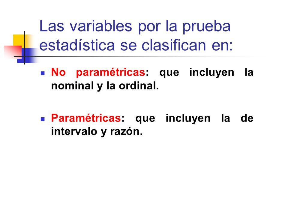 Las variables por la prueba estadística se clasifican en: No paramétricas: que incluyen la nominal y la ordinal. Paramétricas: que incluyen la de inte