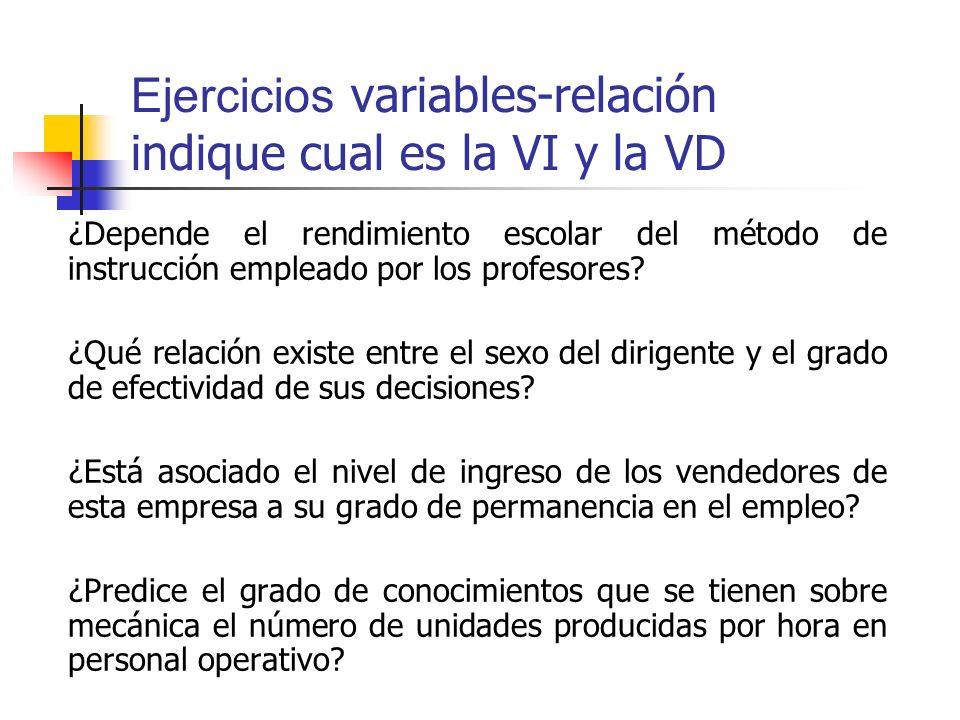 Ejercicios variables-relación indique cual es la VI y la VD ¿Depende el rendimiento escolar del método de instrucción empleado por los profesores? ¿Qu
