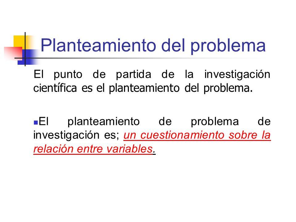 Planteamiento del problema El punto de partida de la investigación ci entífica es el planteamiento del problema. El planteamiento de problema de inves