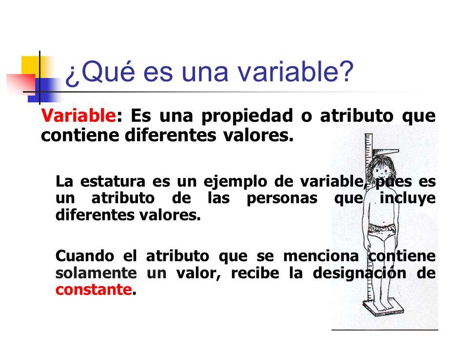 ¿Qué es una variable? Variable: Es una propiedad o atributo que contiene diferentes valores. La estatura es un ejemplo de variable, pues es un atribut