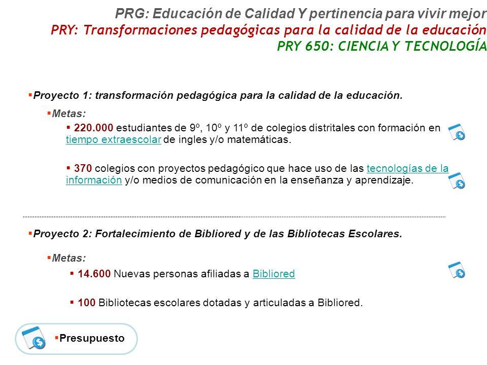 Proyecto 1: transformación pedagógica para la calidad de la educación.