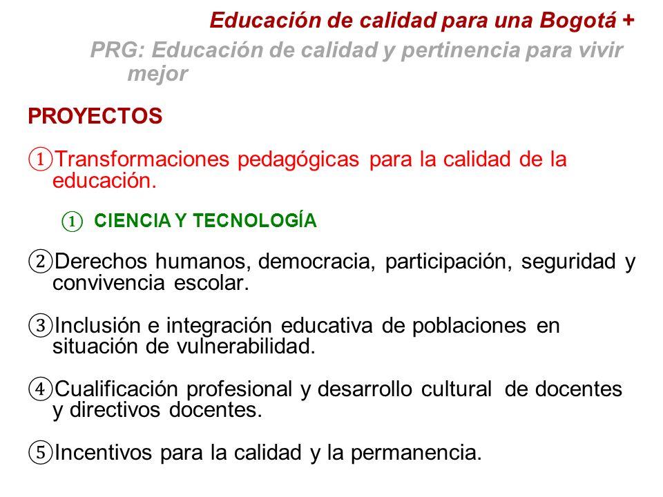 PROYECTOS Transformaciones pedagógicas para la calidad de la educación.