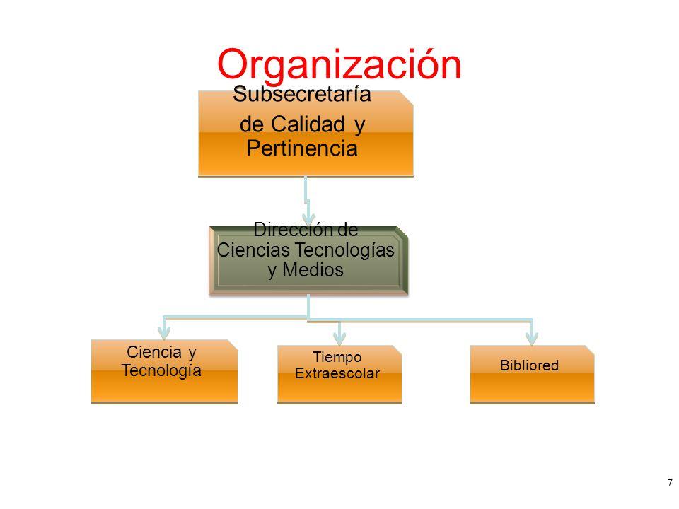 Organización 7 Subsecretaría de Calidad y Pertinencia Subsecretaría de Calidad y Pertinencia Dirección de Ciencias Tecnologías y Medios Ciencia y Tecnología Tiempo Extraescolar Bibliored
