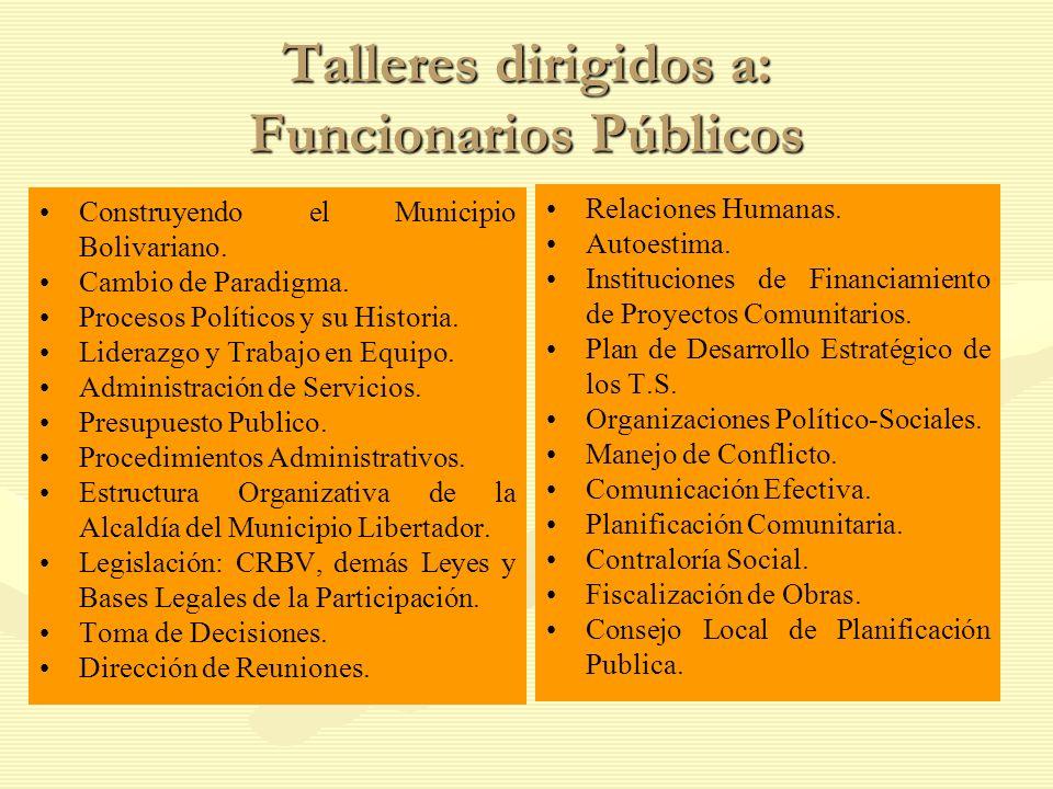 Talleres dirigidos a: Funcionarios Públicos Construyendo el Municipio Bolivariano.