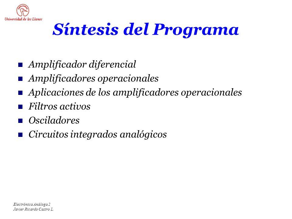 Electrónica Análoga 2 Javier Ricardo Castro L. Síntesis del Programa Amplificador diferencial Amplificadores operacionales Aplicaciones de los amplifi