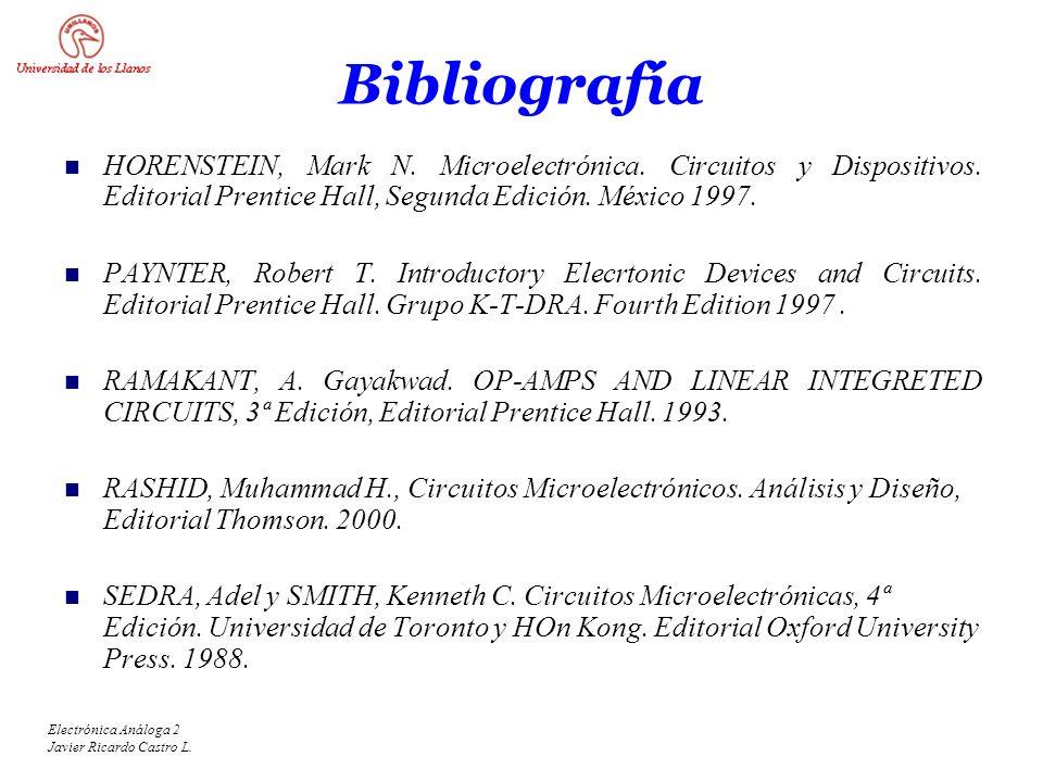 Electrónica Análoga 2 Javier Ricardo Castro L. Bibliografía HORENSTEIN, Mark N. Microelectrónica. Circuitos y Dispositivos. Editorial Prentice Hall, S