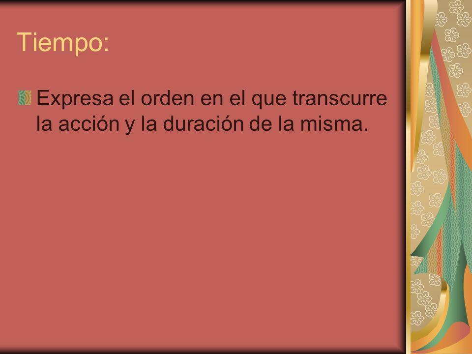 Tiempo: Expresa el orden en el que transcurre la acción y la duración de la misma.