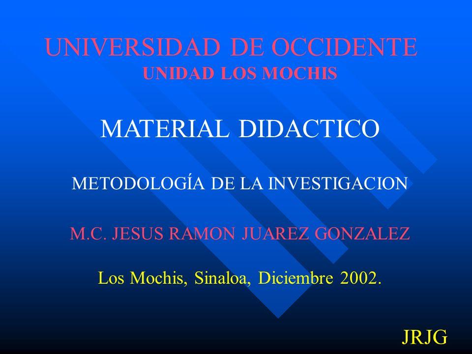 UNIVERSIDAD DE OCCIDENTE UNIDAD LOS MOCHIS MATERIAL DIDACTICO METODOLOGÍA DE LA INVESTIGACION M.C.