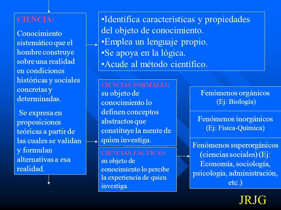 Identifica características y propiedades del objeto de conocimiento.