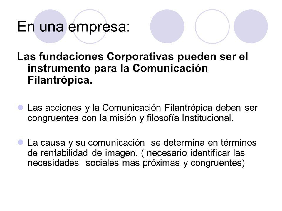 En una empresa: Las fundaciones Corporativas pueden ser el instrumento para la Comunicación Filantrópica. Las acciones y la Comunicación Filantrópica