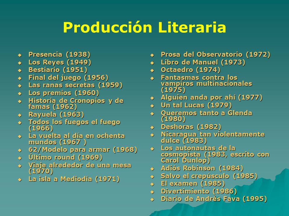 Producción Literaria Presencia (1938) Presencia (1938) Los Reyes (1949) Los Reyes (1949) Bestiario (1951) Bestiario (1951) Final del juego (1956) Fina