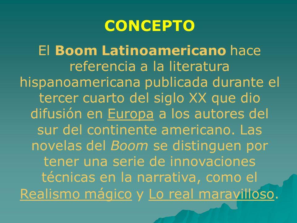 CONCEPTO El Boom Latinoamericano hace referencia a la literatura hispanoamericana publicada durante el tercer cuarto del siglo XX que dio difusión en