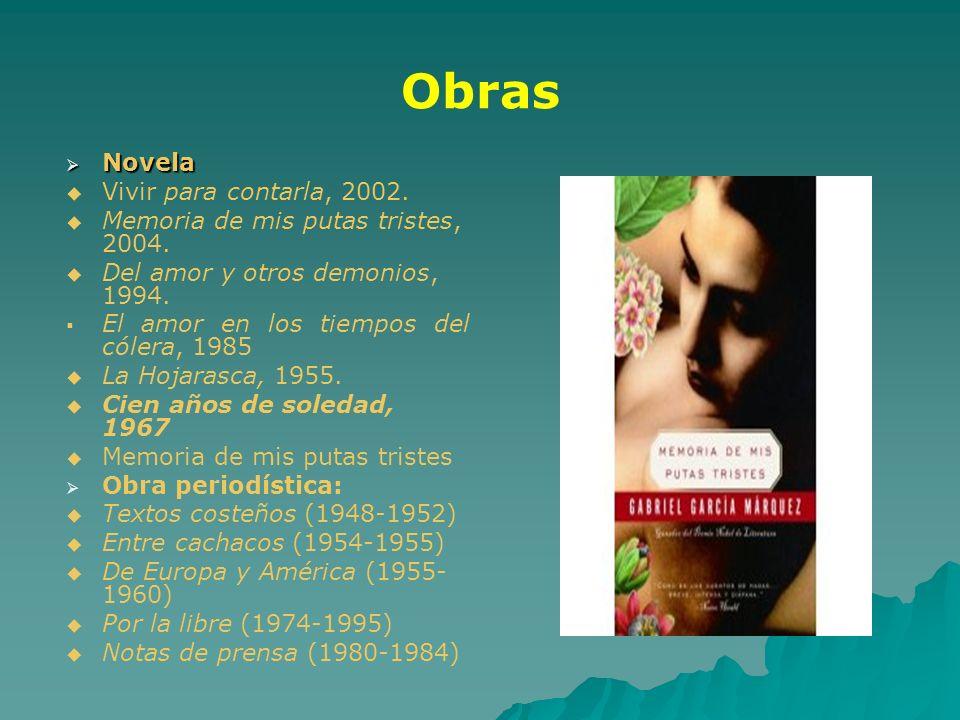 Obras Novela Novela Vivir para contarla, 2002. Memoria de mis putas tristes, 2004. Del amor y otros demonios, 1994. El amor en los tiempos del cólera,