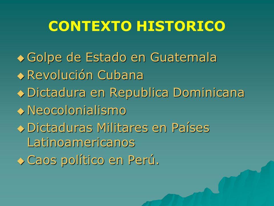 CONTEXTO HISTORICO Golpe de Estado en Guatemala Golpe de Estado en Guatemala Revolución Cubana Revolución Cubana Dictadura en Republica Dominicana Dic