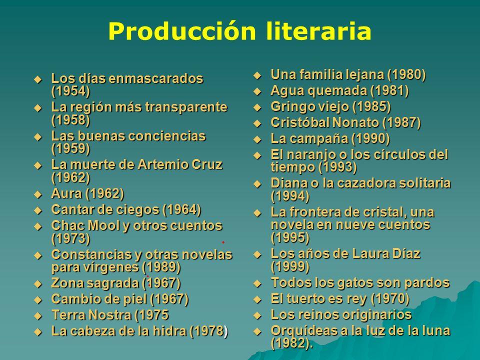 Producción literaria Los días enmascarados (1954) Los días enmascarados (1954) La región más transparente (1958) La región más transparente (1958) Las