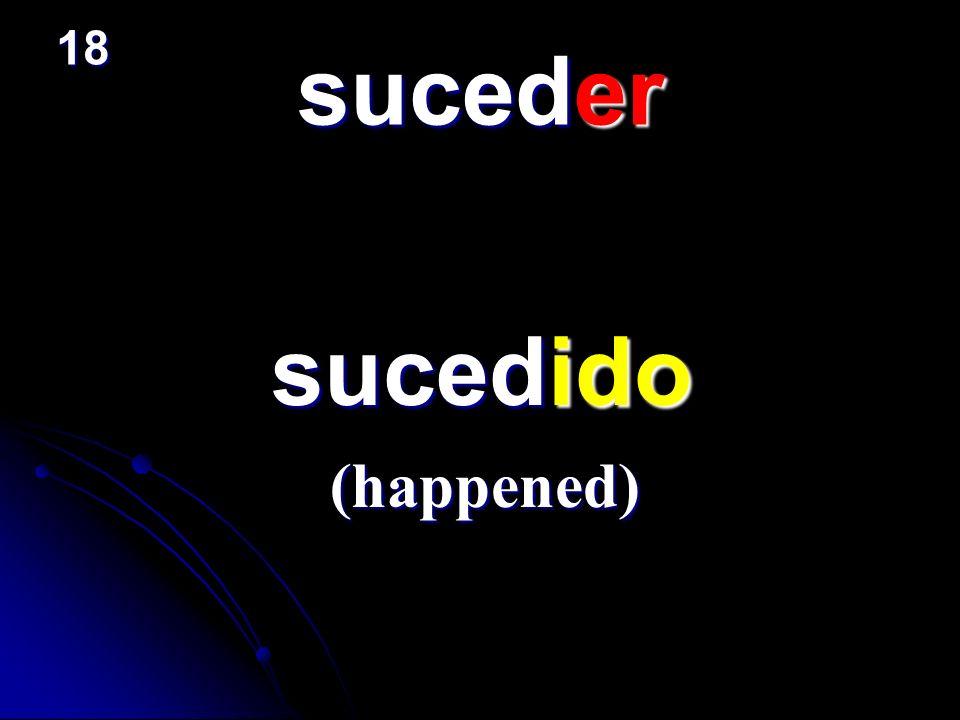suceder sucedido sucedido (happened) 18
