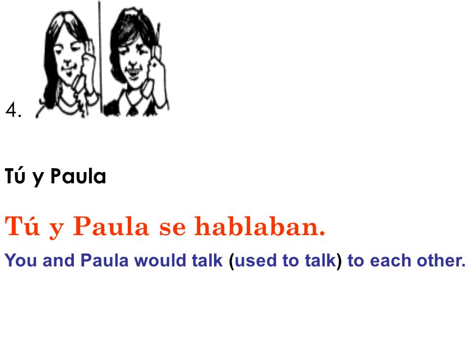 4. Tú y Paula Tú y Paula se hablaban. You and Paula would talk (used to talk) to each other.