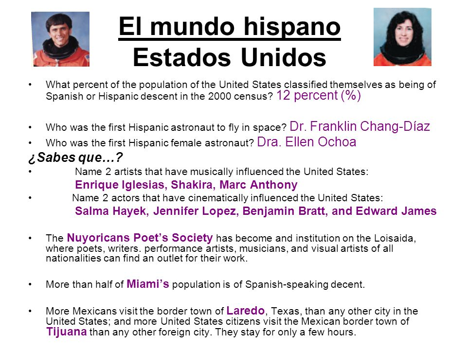 El mundo hispano Estados Unidos What percent of the population of the United States classified themselves as being of Spanish or Hispanic descent in t