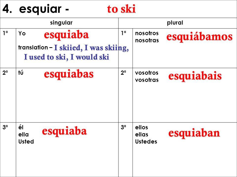 4. esquiar - singular plural 1ªYo translation – 1ªnosotros nosotras 2ªtú2ª vosotros vosotras 3ªél ella Usted 3ªellos ellas Ustedes to ski esquiaba I s