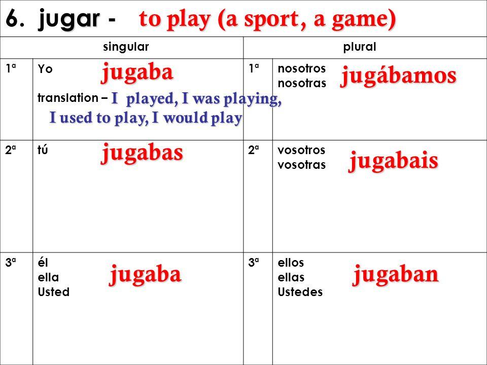 gar 6. jugar - singular plural 1ªYo translation – 1ªnosotros nosotras 2ªtú2ª vosotros vosotras 3ªél ella Usted 3ªellos ellas Ustedes to play (a sport,