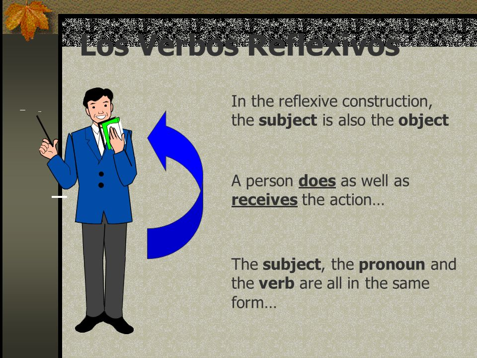 Reflexive Verbs Reflexive verbs are used to tell that a person does something to or for him/ herself.