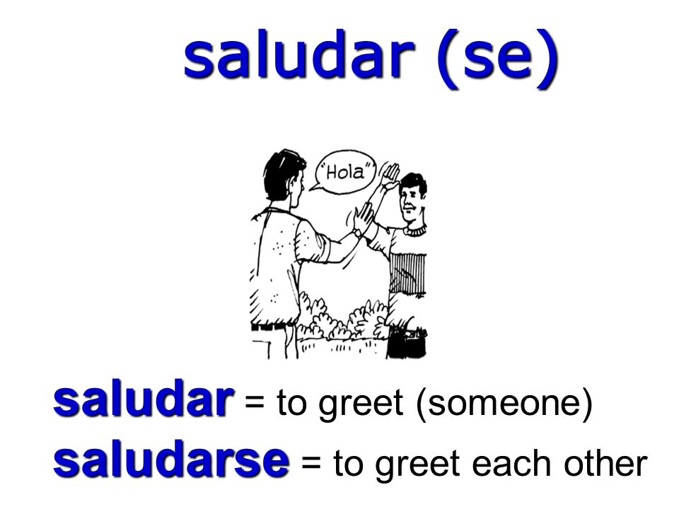 saludar (se) saludar = to greet (someone) saludarse = to greet each other