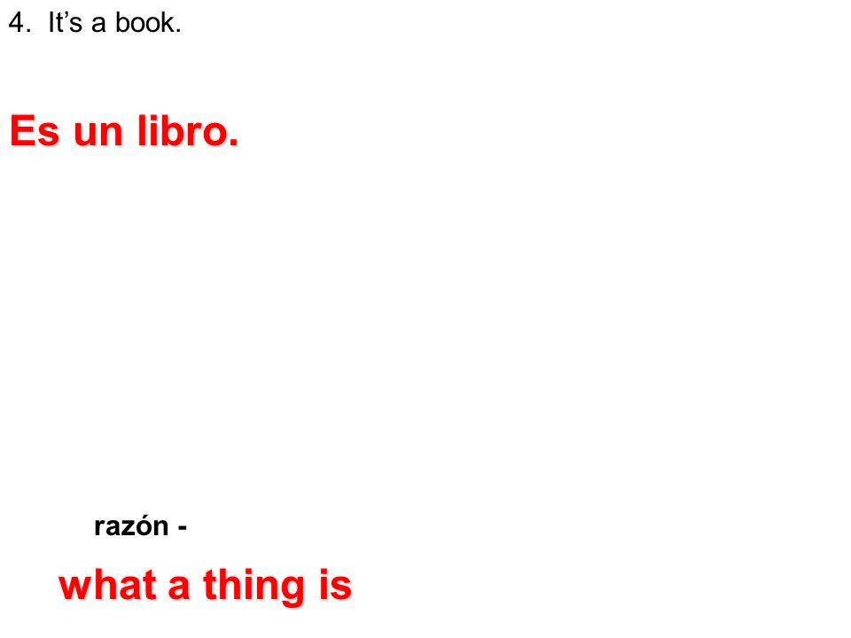 razón - 4. Its a book. Es un libro. what a thing is