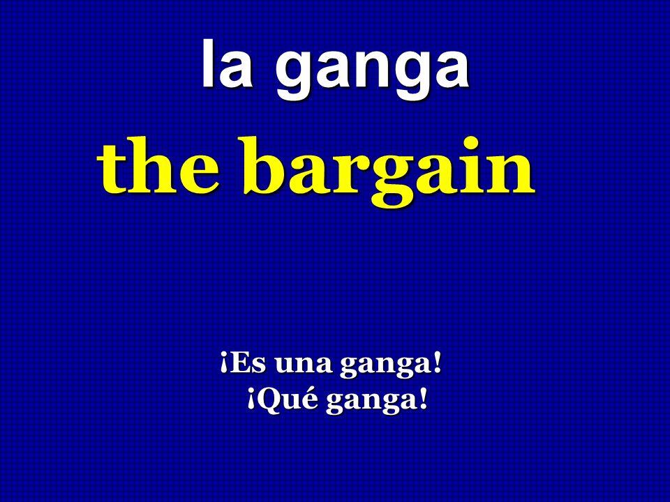 la ganga the bargain ¡Es una ganga! ¡Es una ganga! ¡Qué ganga! ¡Qué ganga!