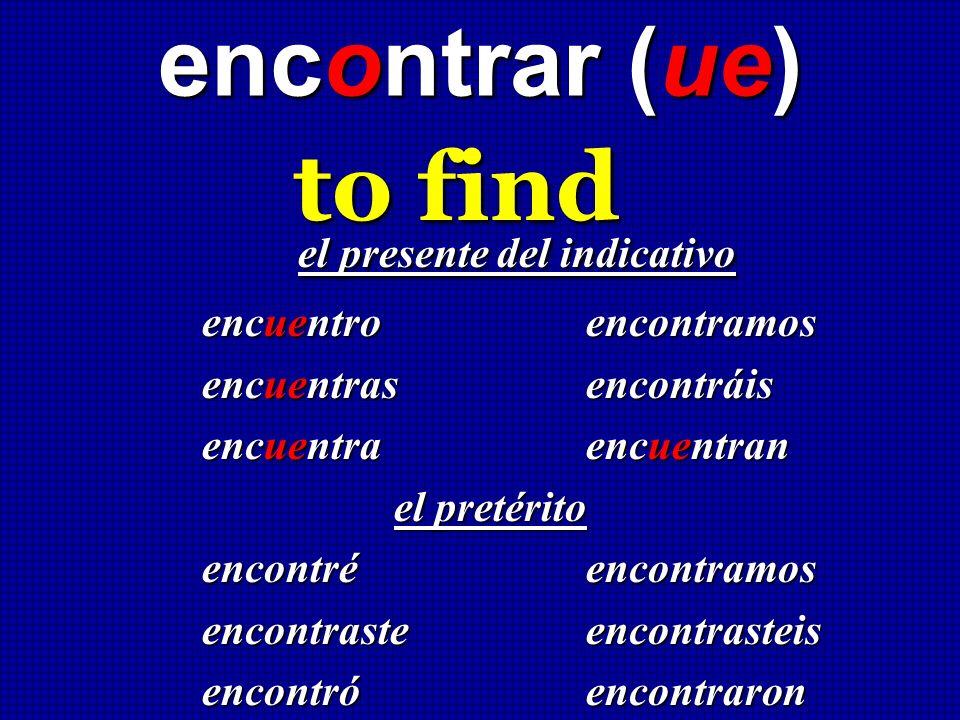 encontrar (ue) to find el presente del indicativo el presente del indicativo encuentro encontramos encuentras encontráis encuentra encuentran el preté