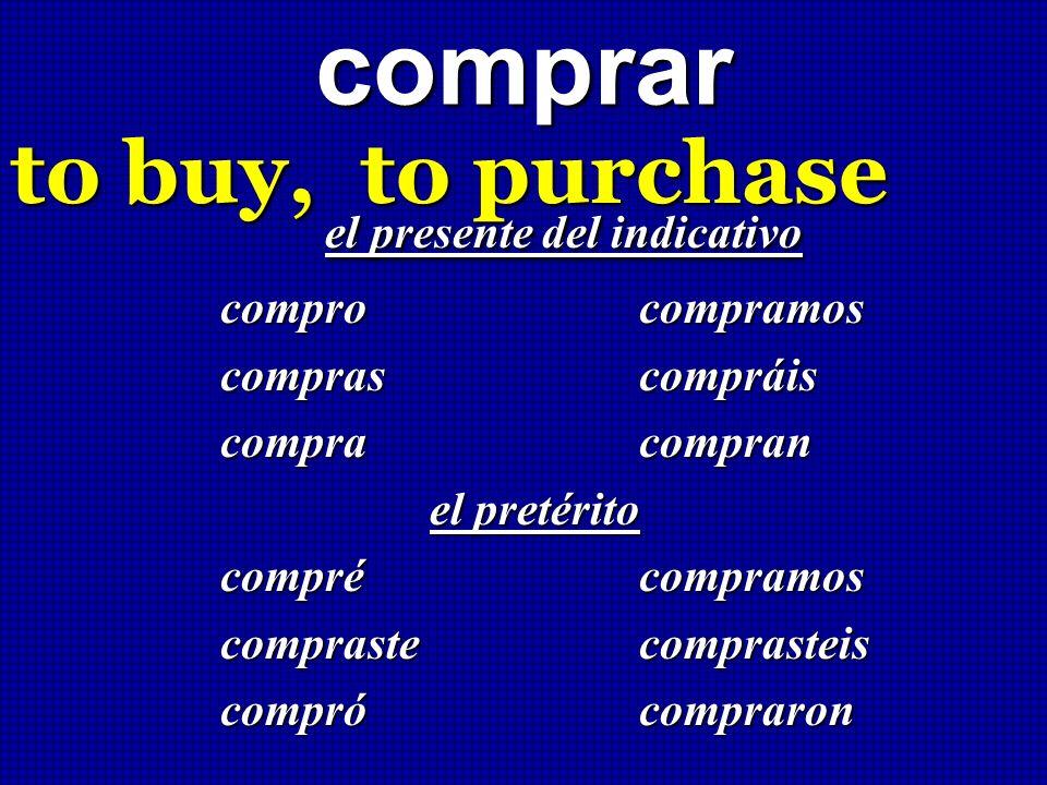 comprarto buy, to purchase el presente del indicativo el presente del indicativo compro compramos compras compráis compra compran el pretérito compréc