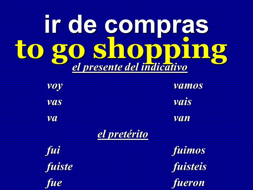 ir de compras to go shopping el presente del indicativo el presente del indicativo voy vamos vas vais va van el pretérito fuifuimos fuiste fuisteis fu