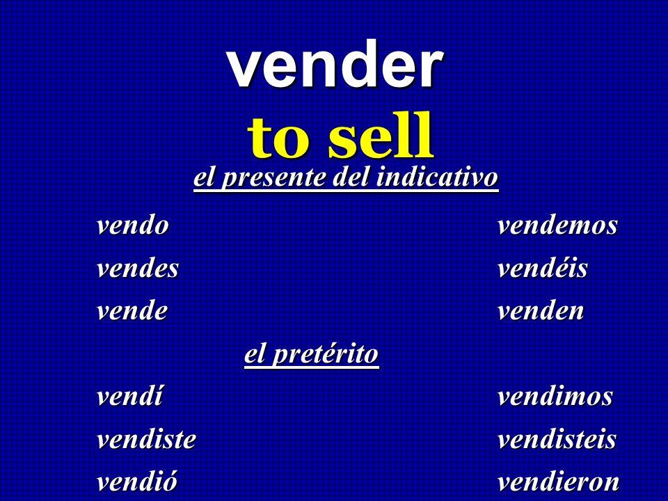 vender to sell el presente del indicativo el presente del indicativo vendo vendemos vendes vendéis vende venden el pretérito el pretérito vendívendimo