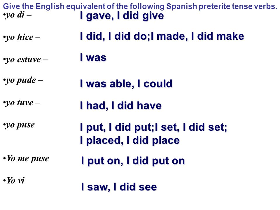 Give the English equivalent of the following Spanish preterite tense verbs. yo di – yo hice – yo estuve – yo pude – yo tuve – yo puse Yo me puse Yo vi