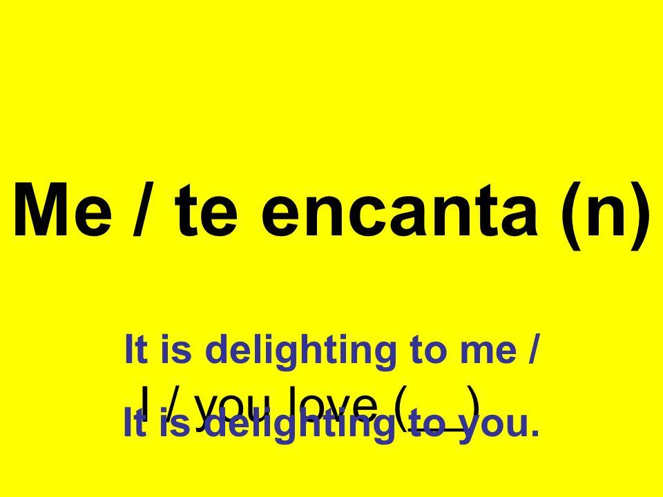 Me / te gusta (n) I / you like (__) It is pleasing to me / It is pleasing to you.