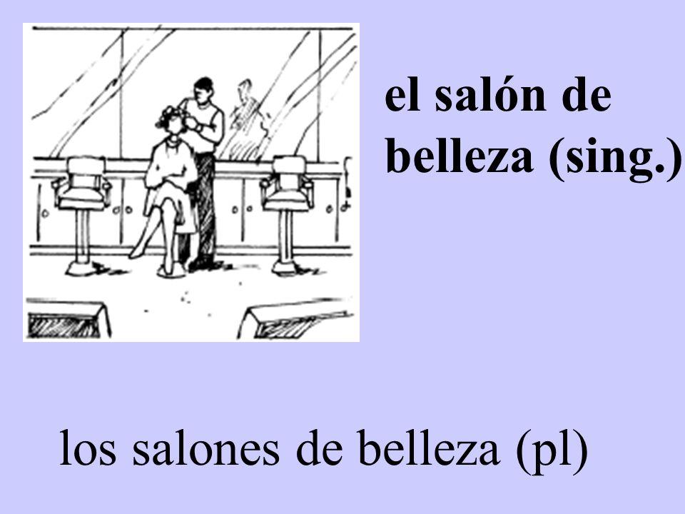 los salones de belleza (pl) el salón de belleza (sing.)