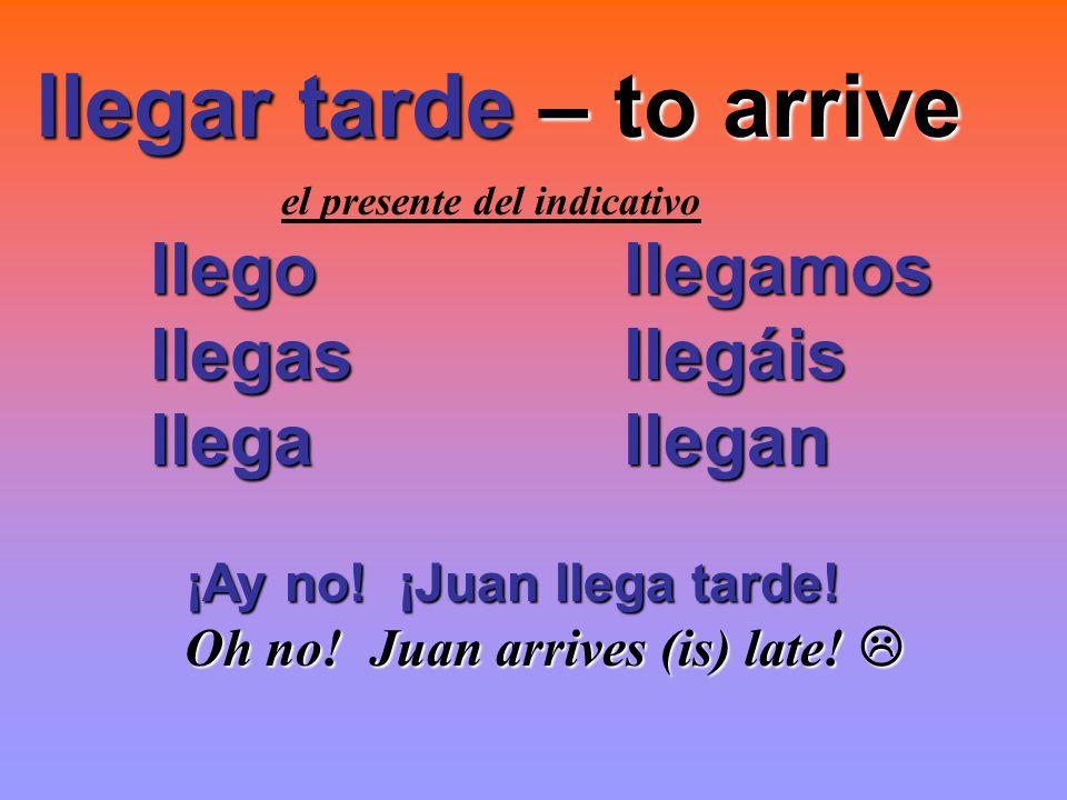 llegar tarde – to arrive llegar tarde – to arrive el presente del indicativo llego llegamos llegas llegáis llegas llegáis llega llegan llega llegan ¡A