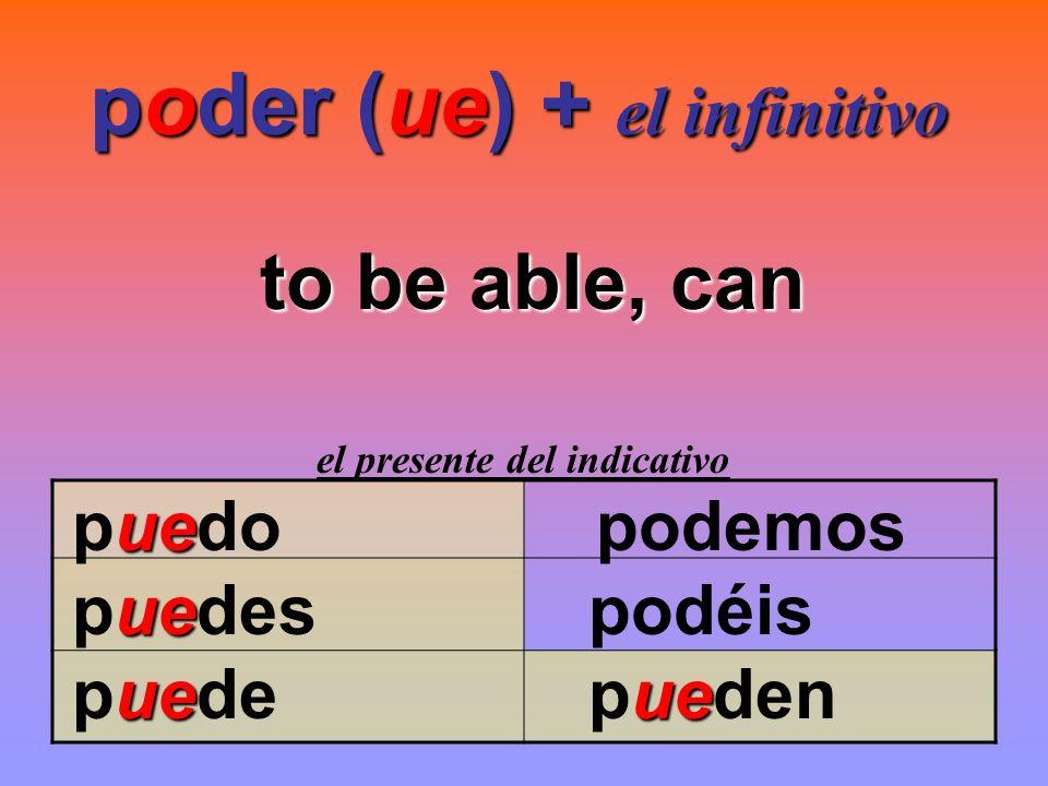poder (ue) + el infinitivo to be able, can el presente del indicativo ue puedopodemos ue puedes podéis ueue puede pueden