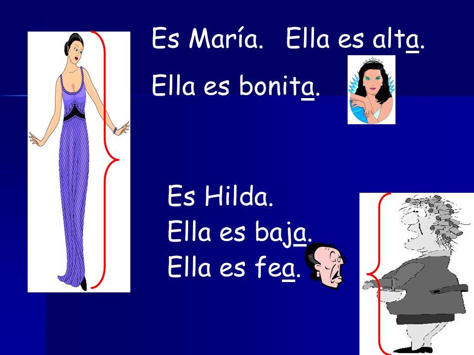 Es María.Ella es alta. Ella es bonita. Es Hilda. Ella es baja. Ella es fea.