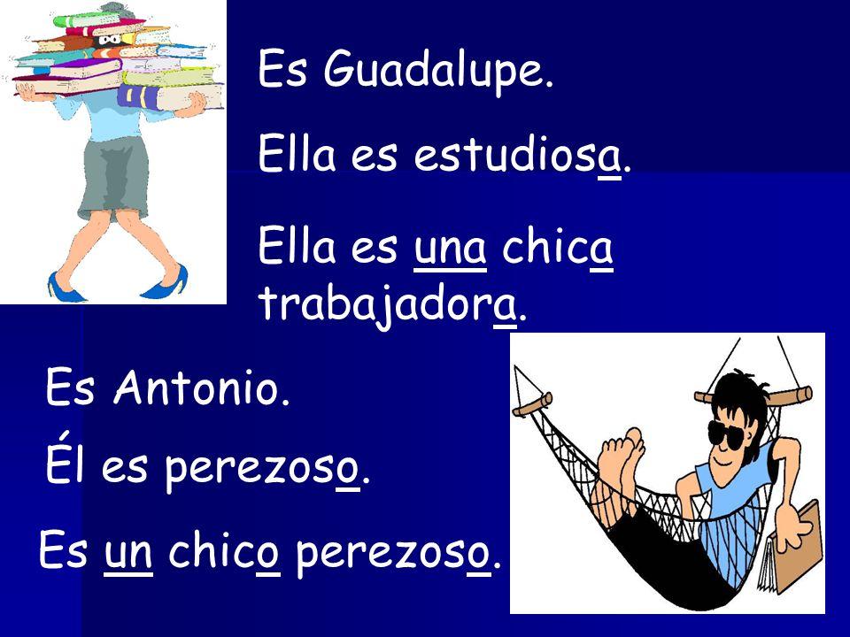 Es Guadalupe.Ella es estudiosa. Ella es una chica trabajadora.