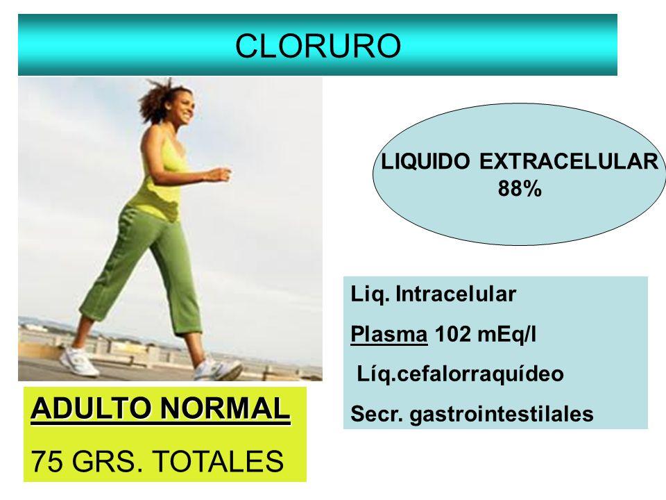 CLORURO LIQUIDO EXTRACELULAR 88% Liq. Intracelular Plasma 102 mEq/l Líq.cefalorraquídeo Secr. gastrointestilales ADULTO NORMAL 75 GRS. TOTALES