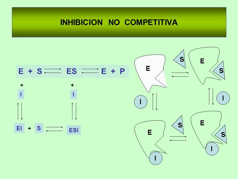 E + S ES E + P INHIBICION NO COMPETITIVA + I EI + I ESI +S I I E S E S E S I I E S