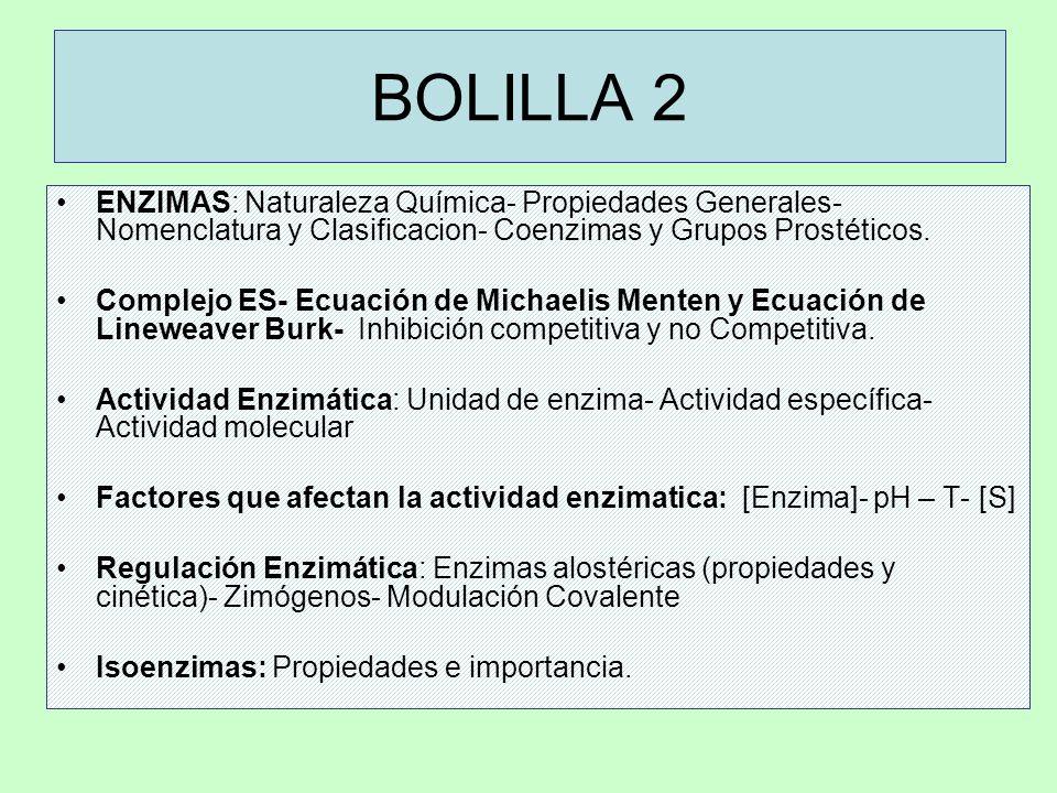 BOLILLA 2 ENZIMAS: Naturaleza Química- Propiedades Generales- Nomenclatura y Clasificacion- Coenzimas y Grupos Prostéticos. Complejo ES- Ecuación de M