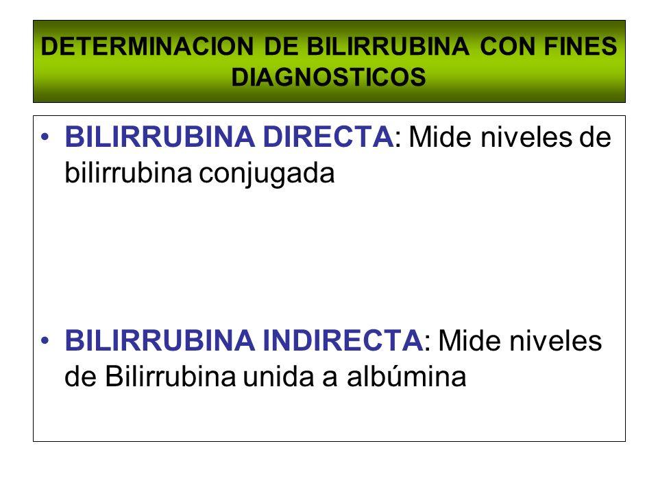 DETERMINACION DE BILIRRUBINA CON FINES DIAGNOSTICOS BILIRRUBINA DIRECTA: Mide niveles de bilirrubina conjugada BILIRRUBINA INDIRECTA: Mide niveles de
