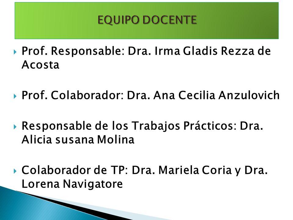 Prof. Responsable: Dra. Irma Gladis Rezza de Acosta Prof. Colaborador: Dra. Ana Cecilia Anzulovich Responsable de los Trabajos Prácticos: Dra. Alicia